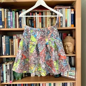 Anthropologie Maeve Map of Paris Mini Skirt Size 8
